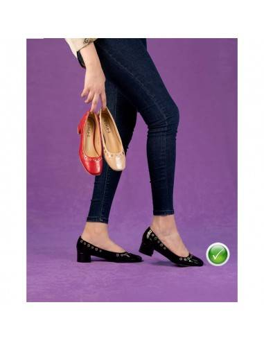 *Chaussure Femme à Talon Carré - Cuir...