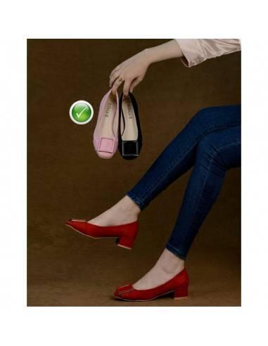 *Chaussure Femme A Talon Carré - Daim...