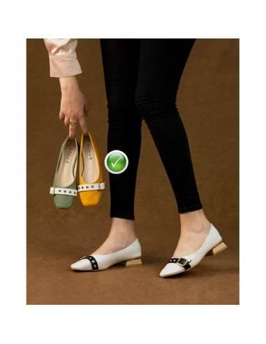 *Chaussure Femme à Talon Carré Cuir -...